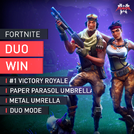 Fortnite Duo Mode Win #1 Victory Royale Paper Parasol Metal Umbrella Boosting