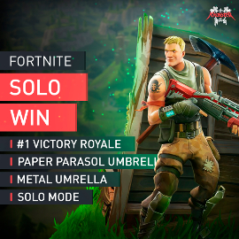 Fortnite Solo Mode Win #1 Victory Royale Paper Parasol Metal Umbrella Boosting